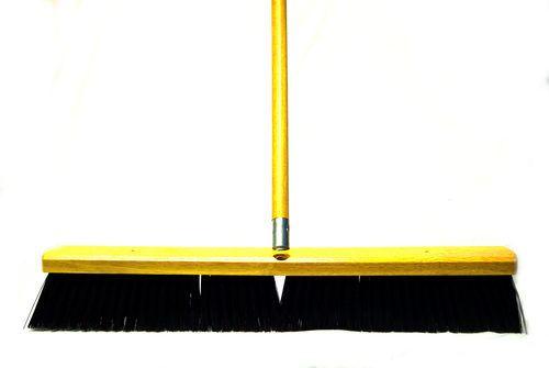 "Red/Black Floor Broom w/ 60"" Handle"